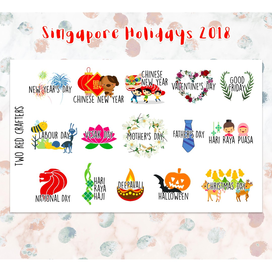 Singapore Holidays 2018 Icon Stickers For Erin Condren