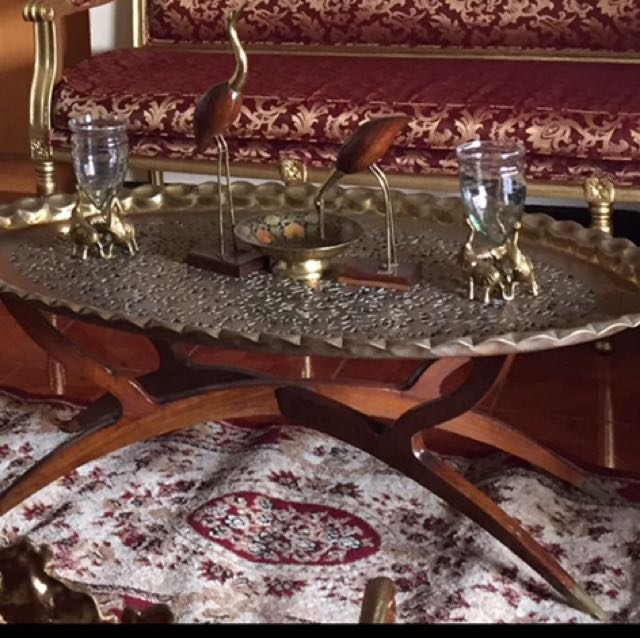 Mid Century Moroccan Brass Tray Table