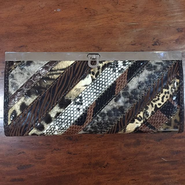 Synthetic Leather Animal Print Clutch Wallet