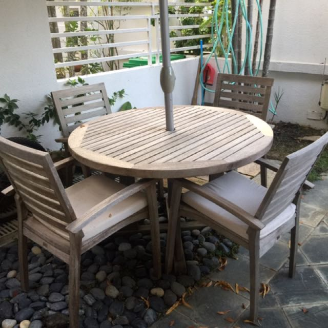 Teak Table And Chairs Set Furniture Tables Chairs On Carousell - Teak table and 4 chairs