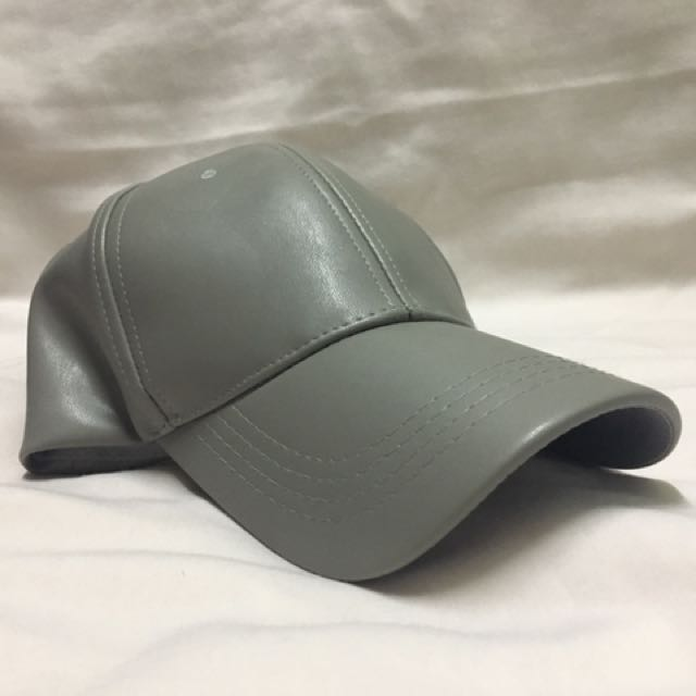 Thepumpdale Gray Faux Leather Baseball Cap
