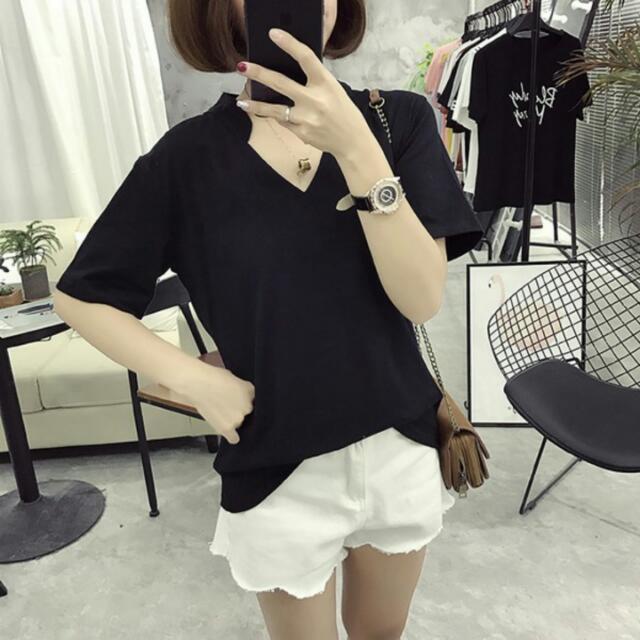 夏季短袖T恤舒適寬鬆上衣V領純白色女裝 純棉打底衫簡約韓版