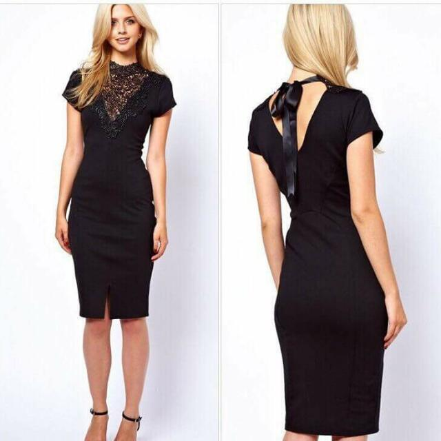 U.S. Style Embroidered Lace Detail Dress