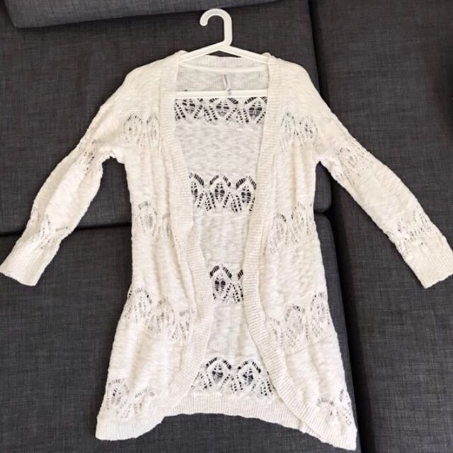 White Boho Crochet Cardigan