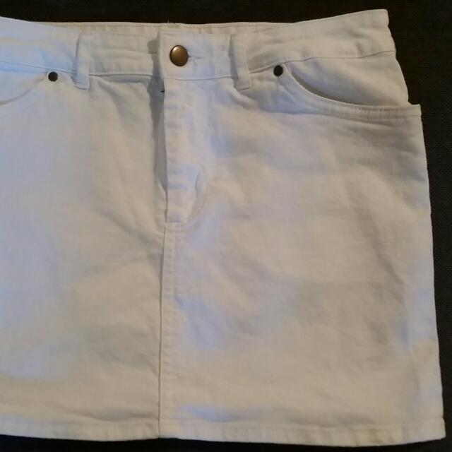 White Denim Mini skirt H&M