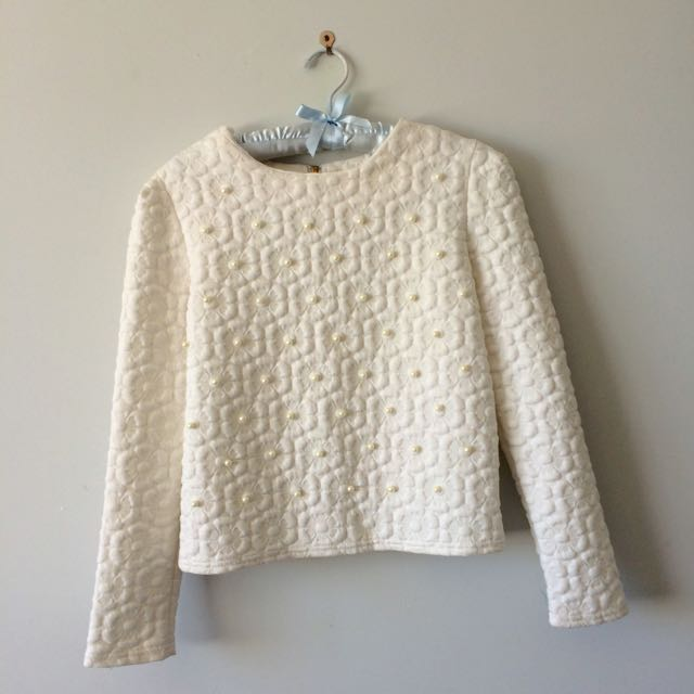 White Long Sleeved Pearl Beaded Top