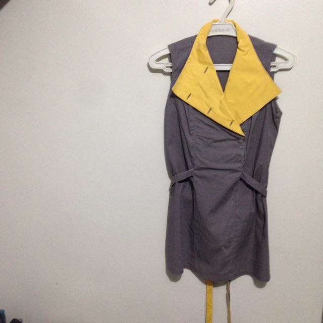 Yellow & Grey Sleeveless Top
