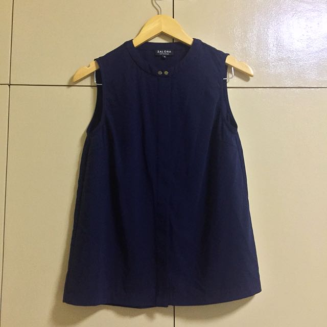 ZALORA COLLECTION Double Button Navy Blue Top