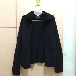 COLOUR18黑色毛衣外套