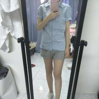 🚚 藍粉少女休閒短袖襯衫上衣