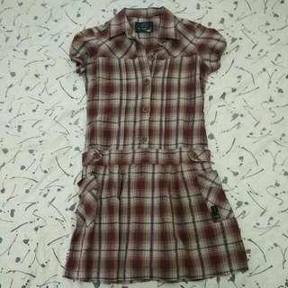 Dress Leggs Kotak-Kotak Berkerah Coklat