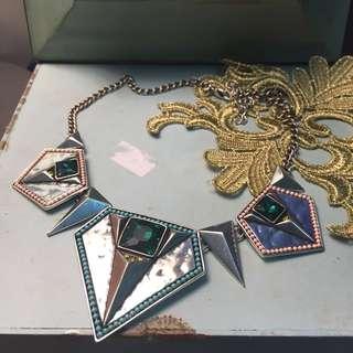 歐美路線 個性項鍊 寶石 珠珠 銀色
