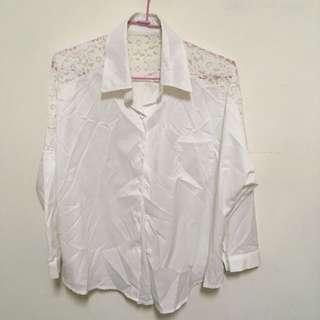 蕾絲雪紡白襯衫