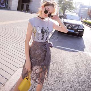 🚚 【兩件一套價】時尚小香風洋氣T恤+蕾絲鉤花高腰半身裙*2色預購【CATJIN.SHOP⭐TB29-01】