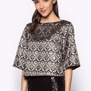 ZALIA Jacquard Top With Wide Sleeves XL