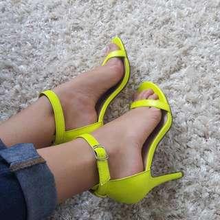 Neon Heeled Sandals