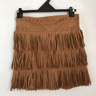 suade fringed skirt