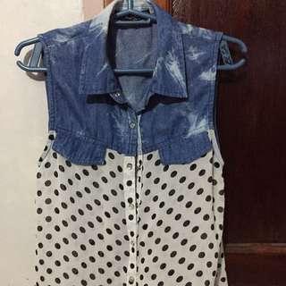 denim sleeveless blouse