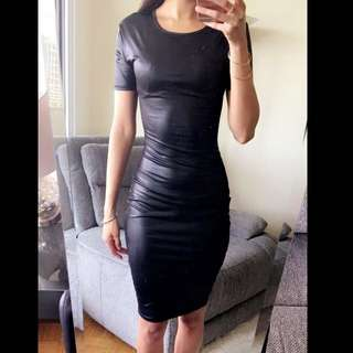 Imitation Leather Dress