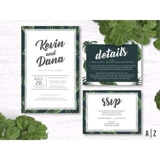 Green & Calligraphy Wedding Invitation