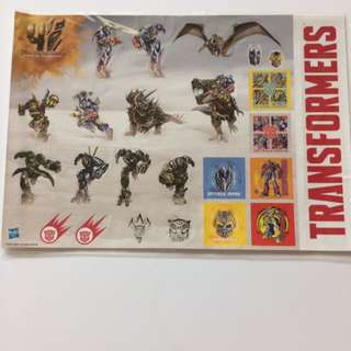 *RARE* Transformers 4 Age Of Extinction Sticker Sheet
