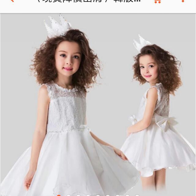 韓版女童禮服花童蕾絲背心蝴蝶結洋裝白色110公分也可換物