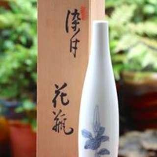 箱底好物**日本古董  青花窄口花瓶  N222000 口徑寬2.5高26底寬5.5cm