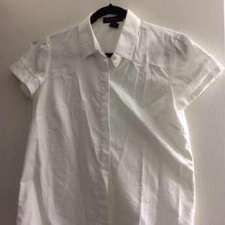 Pink Tartan Classic White Button Up - Short Sleeve