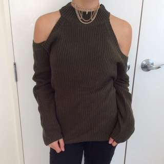 Army Green Cold Shoulder Knit Sweater