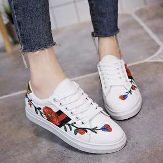 Keith White Embroided Sneakers