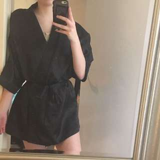 Black Silk Dressing Gown With Tie