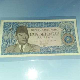 uang kertas kuno soekarno.2 1/2 rupiah