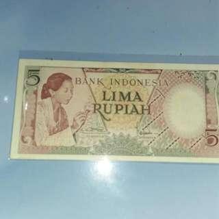 uang kertas kuno 5rupiah..seri pekerja batik