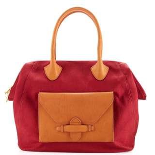 Pour La Victoire Lucca Red Canvas Leather Satchel Bag