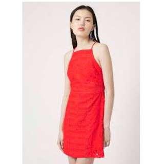 Topshop Red-orange Lace Dress