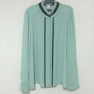 Forever 21 Chiffon Green Top