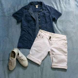 PRE-LOVED Denim and White Shorts