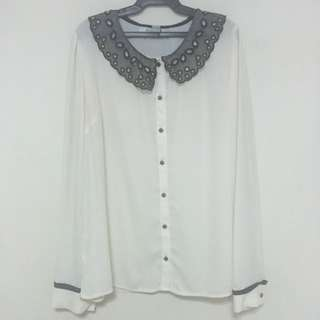 Forever 21 Lace Collar Chiffon Top