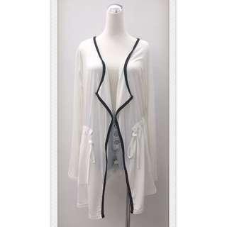 017S299 - 滾邊配色腰部抽繩縮腰口袋長袖罩衫