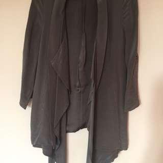 dark grey blazer cardigan date size 10