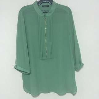 Chinese Collar Green Chiffon Top