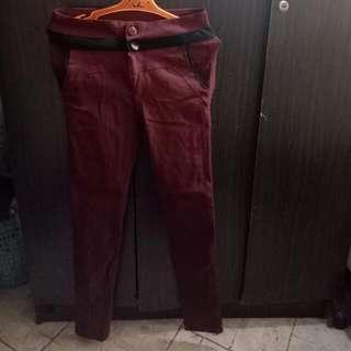 Hight Waisted Maroon Pants (Stretchable)