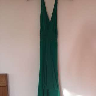 emerald green evening dress low cut size 8