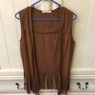 Brown Faux Suede Fringe Vest