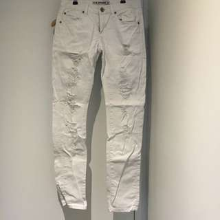 White Slim Straight Jeans