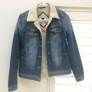 Shearling Denim Jacket Size 10 Bellfield Clothing