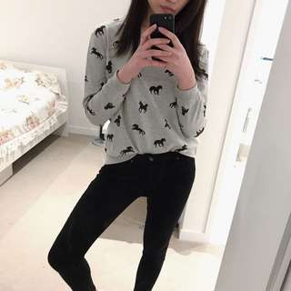 Grey Shirt With Horse Prints