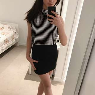 Bodycon Dress With Black And White Stripes