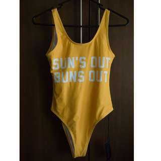 "BNWT Yellow One Piece Swimsuit / Swimwear ""Sun's Out Buns Out"" Low back"