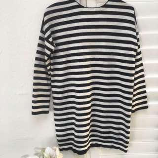 Long Sleeve Striped Jumper Dress Size XS